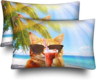 SPXUBZ Funny Cat Cocktail Beach Black Sunglasses Palm Tree Sea Home Decor Gift Rectangular Indoor Cotton Pillowcase (Two Sides),2PC