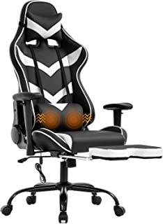 Gaming Chair Office Chair Computer Chair with Lumbar Support Footrest Armrest Headrest Ergonomic Racing Chair Task High Back PU Leather Rolling Swivel Massage Desk Chair for Adult(White)