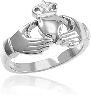 Classic 10k White Gold Irish Heart Claddagh Wedding Engagement Ring