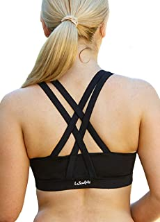 LaSculpte Women's Padded Strappy Criss Cross Back Sexy Sports Bra High Impact Workout Running Yoga Bra, 10-20