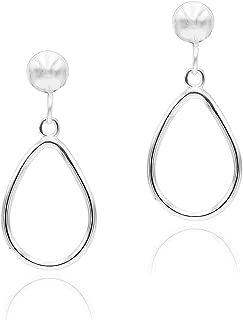 Sterling Silver Open Teardrop Dangle Hoop Earrings 5mm Bead Post Dangle Earrings for Women Girl