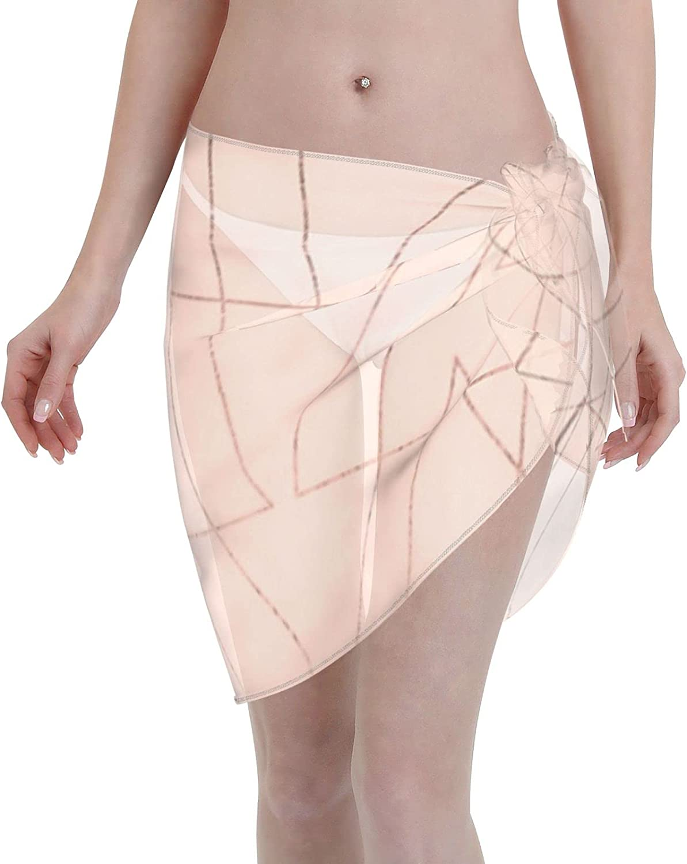 2053 pants Modern Rose Gold Geometric Thin Women Chiffon Beach Cover ups Beach Swimsuit Wrap Skirt wrap Bathing Suits for Women