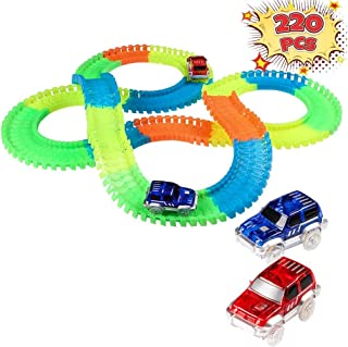 Innoo Tech Glow Track, Twister Tracks, 220 PCS Magic Glow in the dark Tracks with 2 Race Cars, Construction Car Toys for K...