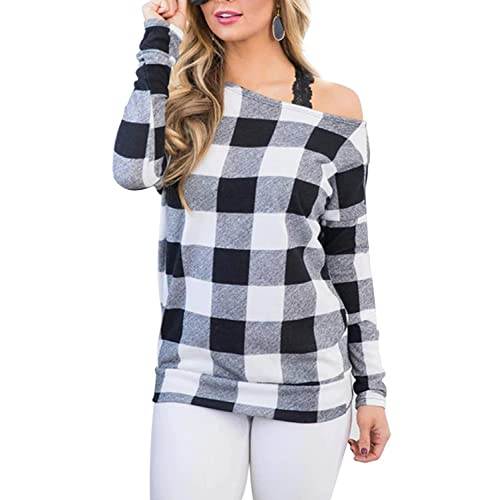217e2dcedb203 Blooming Jelly Women s Off The Shoulder Plaid Color Block Long Sleeve T Shirt  Jumper Ladies Tops