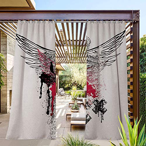 FOEYESEE Outdoor Shades for Patio Grunge Wings and Skulls with Signs Color Stains Background Punk Style Artwork Black Pink White Waterproof/Windproof/Anti-Fading 72x96 Inch
