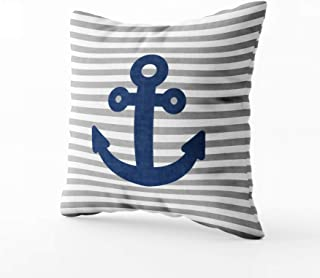 Musesh Navy Blue Anchor Light Grey Stripes Outdoor Pillow Cushions Case Throw Pillow Cover for Sofa Home Decorative Pillowslip Gift Ideas Household Pillowcase Zippered Pillow Covers 16X16Inch