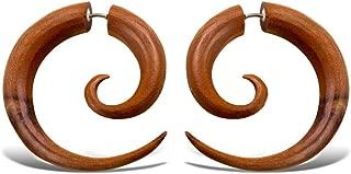 Fake Gauges Tan Wooden Earrings Large Spirals