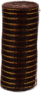 Brown Deco Mesh Ribbon with Gold Tinsel Accent (Decorative, Craft, DIY, Crafting, Wreath Making, Bows, Centerpiece, Floral Bouquet, Gift Wrap