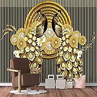 XSJ 壁紙カスタム大壁画3Dステレオ孔雀金箔金ハイエンド中国風の背景の壁の装飾絵画-280X200CM