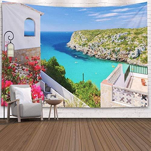 Yhjdcc Tapiz para el hogar por impreso para vacaciones Villa Porter Bay turquesa mar tapiz para colgar pared arte beige verde 150 cm x 200 cm