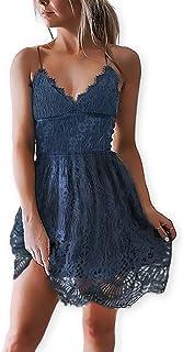81b79dae45de AOOKSMERY Women Summer V-Neck Spaghetti Straps Lace Backless Party Club  Beach Mini Dresses