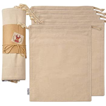 SMALL FISH Organic Cotton Produce Bags, 5 Pcs. Large, Organic, and Reusable Canvas Muslin Drawstring Sack for Organizing, Shopping, Storage, Grocery, Dust Cover, and Gift