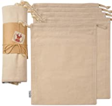 Cotton Muslin Organic Produce Storage Bag with Drawstrings; Large 11.5x13.5 Inch 5 Pack Multipurpose Reusable Gift-Bags Great for Grocery Shopping and Household Organizing Washable Canvas w/ String