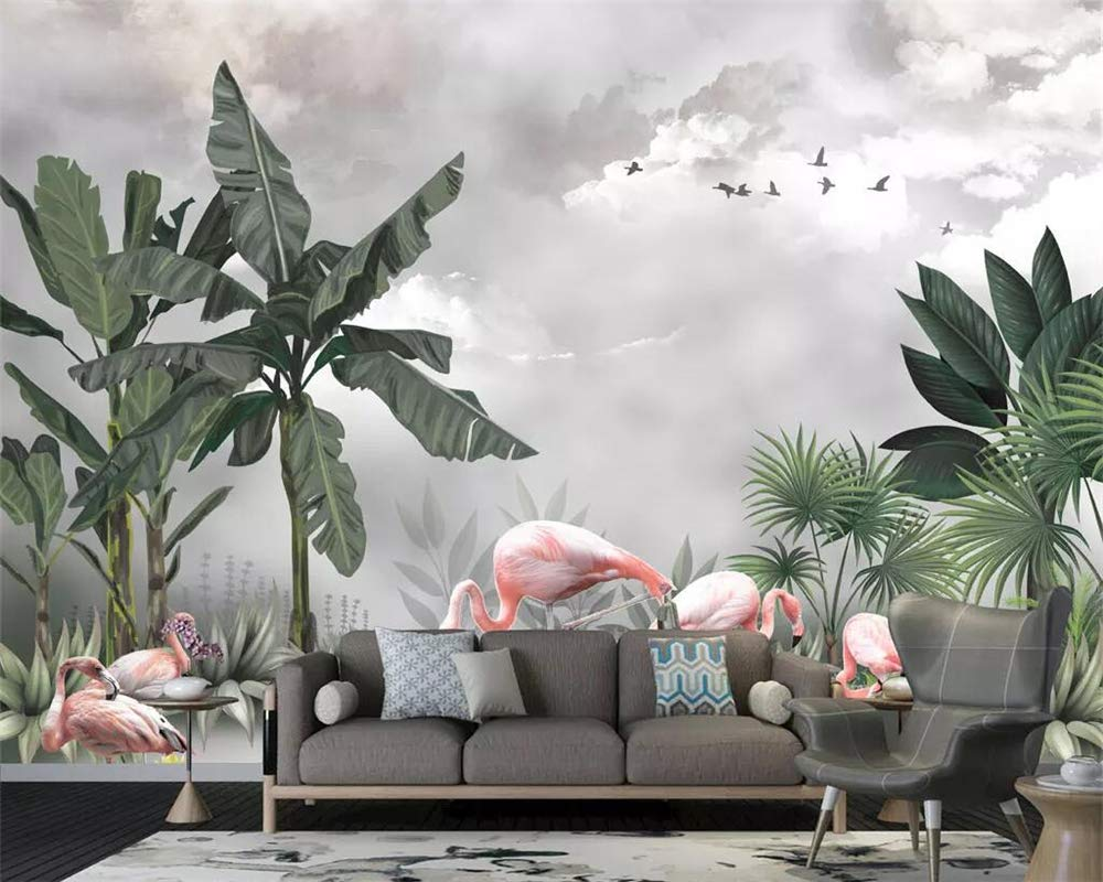 Wall Murals,Hand Painted Mural Max 90% OFF Wallpaper Mail order Bea Flamingo HD Plant