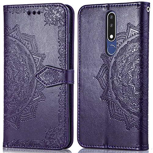 Bear Village Hülle für Nokia 3.1 Plus, PU Lederhülle Handyhülle für Nokia 3.1 Plus, Brieftasche Kratzfestes Magnet Handytasche mit Kartenfach, Violett