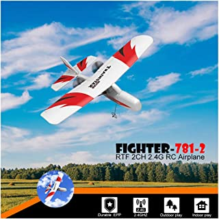 Radio Control Airplane | 2.4GHz Transmitter Remote Control Mini RTF Aircraft | RC Glider Plane Durable EPP Foam Indoor Outdoor Toy for Kids Adults (1PC White Mini RTF Aircraft)