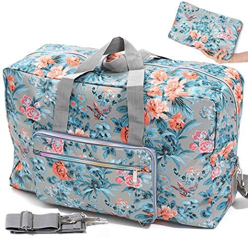 Ladies Women Foldable Travel Duffle Bag - Cute Floral Weekender Overnight Carry-on Bag - Large Hospital Bag (Z-Bird Flower)