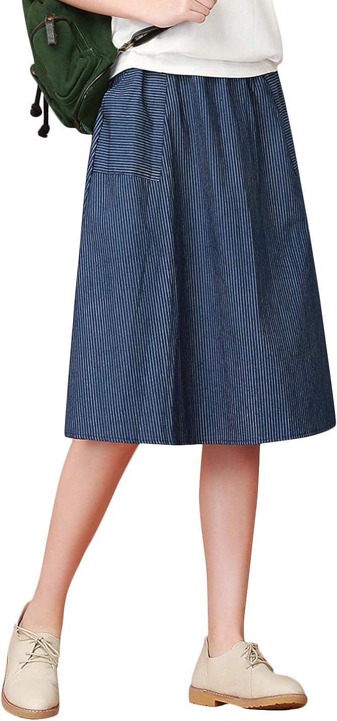 Uaneo Women's Spring Retro Casual Elastic Waist Pleated Below Knee Denim Skirt (Blue, Medium)