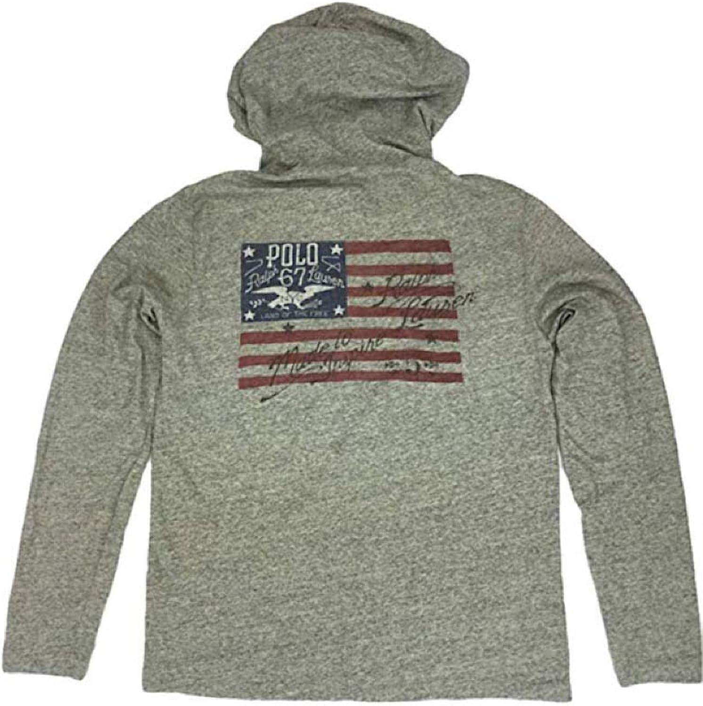 Polo Ralph Lauren Men's Screened US Flag Inspire Hoodie Long Sleeve T-Shirt