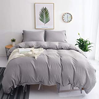 M&Meagle Duvet Cover Grey,Solid Color Bowknot Design,100% Microfiber Treated by Washed Cotton Process,Feels Like a Very Soft Cotton-Queen Size(3Pcs,1 Duvet Cover 2 Pillowcases)