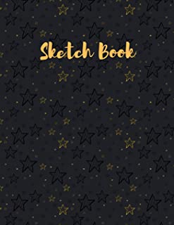"""Sketch Book: with Gold Black Stars on a Light Black Background on the cover of this Blank, Large 8.5""""x 11"""" 100 page Person..."""