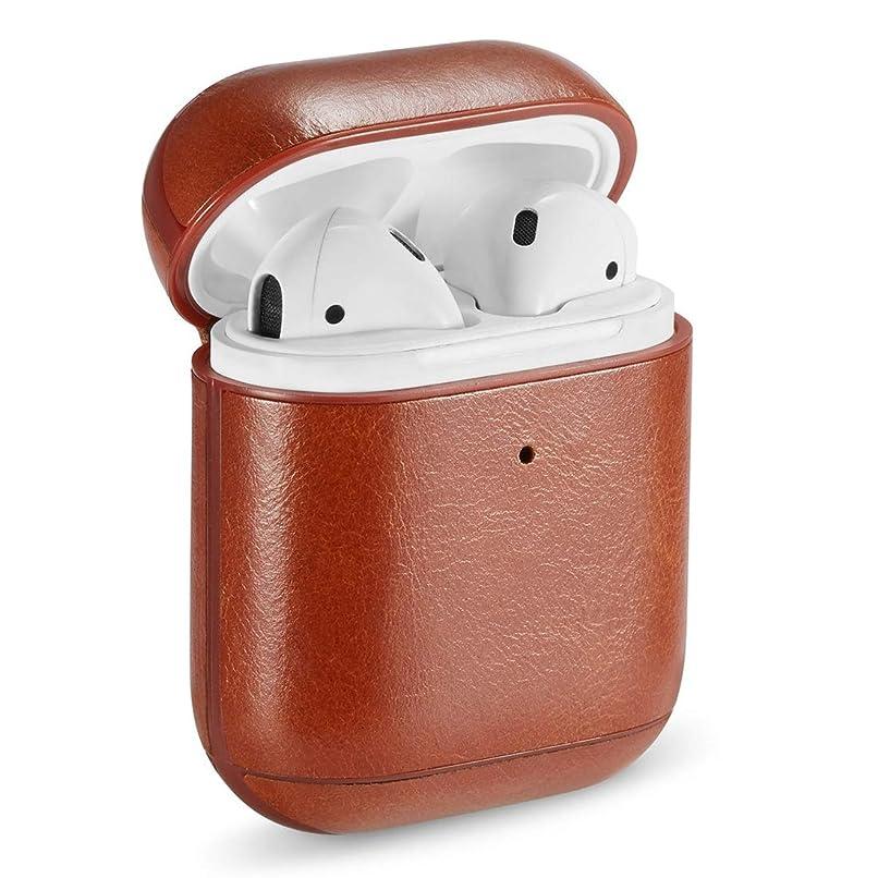 前進に対応するコートJIANGNIJPイヤホン保護ケース Apple AirPods用の本革クレイジーホーステクスチャイヤホン保護ケース (色 : Brown)