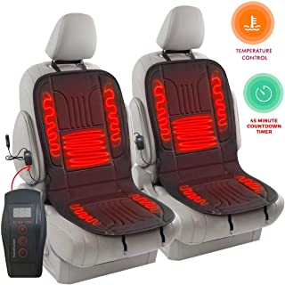 Zento Deals 2 Pack Automotive Premium Quality Ultra Comfortable Heated Car Seat Cushion 12V Adjustable Temperature (Black), Safer Nonflammable