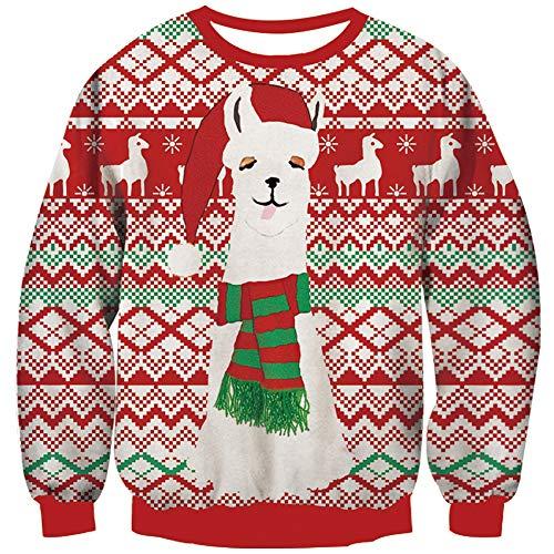Loveternal Christmas Sweater Herren Ugly Weihnachtspullover Damen 3D Druck Hässliche Alpaka Xmas Pullover Langarm Alpaca Jumper XXL