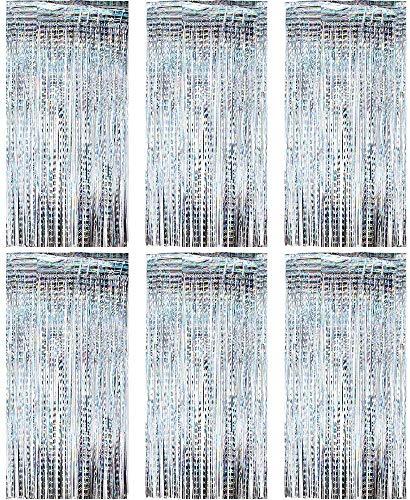 Queta (1m x 2m) 6 STK Lametta Vorhänge Dekoration Folie Vorhang Glitzer Vorhang Deko Glänzende Fransenvorhang für Weihnachten, Hochzeitsdekoration, Geburtstagsfeier Dekor (Silber)