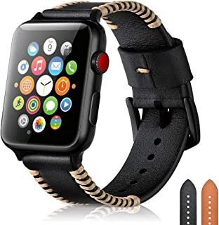 Narako Compatible with Apple Watch Bands 38mm 42mm 40mm 44mm Genuine Leather Black Stainless Steel Adapters Replacement Strap for iWatch Series 4 3 2 1 for Men Sport Edition (Black, 38mm/40mm)