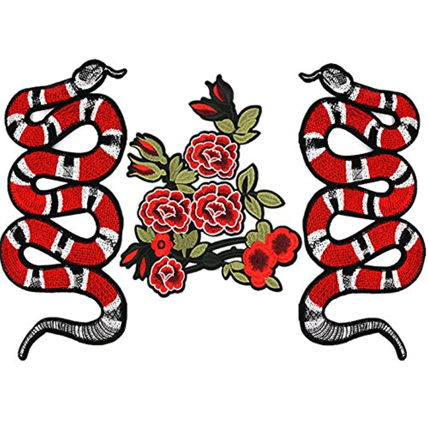 Toonol 3PCs Iron On Patches For Clothing Snake Flower Embroidery Patch Appliques Badge Stickers For Clothes Jeans Jacket Delicate