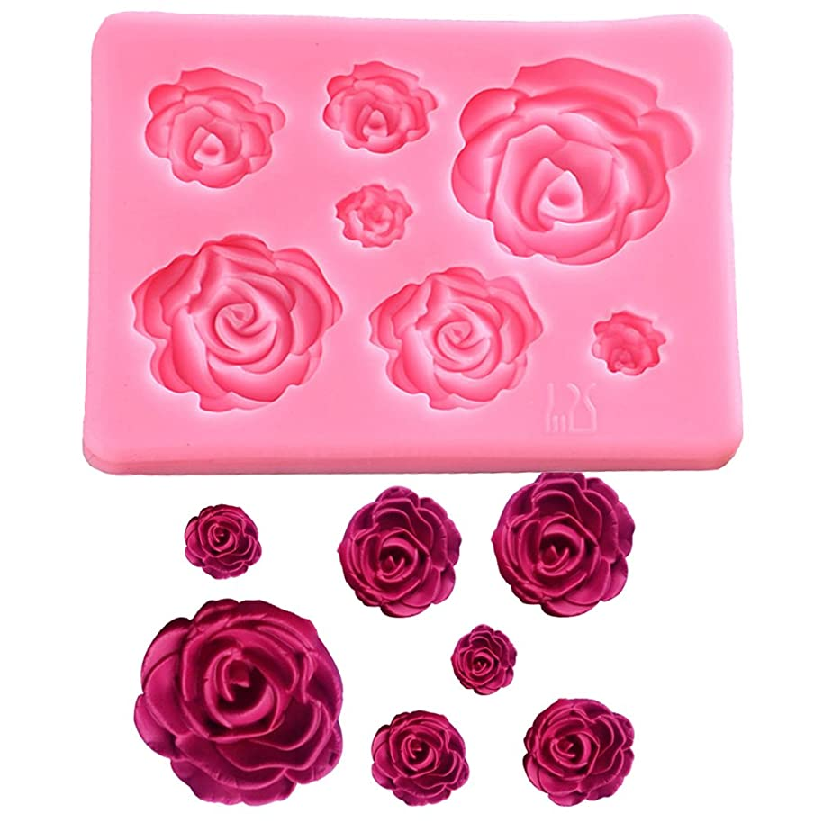 SaSa Design Rose Silicone Mold,Small Soap Clay Fimo Chocolate Sugarcraft Baking Tool DIY Cake Silicone Mold for Baby Shower Party Birthday Party Cake Decoration (Small Rose Mold)