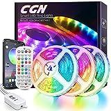 Tiras LED 15M, CGN Tira de Luz LED Bluetooth Multicolor Luces LED RGB 5050 Iluminación de Música con Control Remoto de 40 Teclas 16 Millones Colores 28 Estilos Decoración Para Habitación Fiestas
