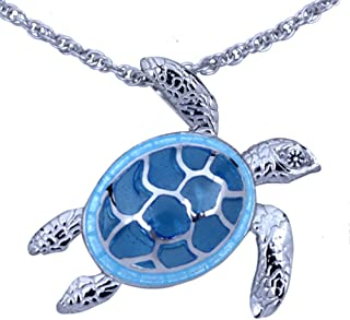 Guy Harvey Blue Enameled Sea Turtle Necklace Crafted in Sterling Silver with 18 Inch Adjustable Chain
