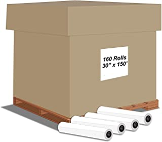 "Alliance CAD Paper Rolls, 30"" x 150', 92 Bright, 20lb - 160 Rolls Per Carton - Ink Jet Bond Rolls with 2 Inch Core"