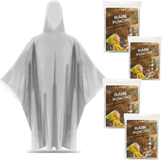 Rain Ponchos, with Drawstring Hood (4 Pack) Emergency Disposable Rain Poncho for Adults, Perfect for Disneyland, Clear