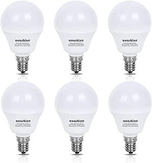E12 LED Bulb 50 Watts Equivalent, Aooshine 5 Watt LED Candelabra Bulb, Daylight White 5000K Decorative G14 LED Bulbs for Ceiling Fan Non-Dimmable(Pack of 6)