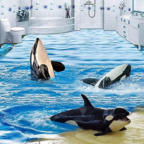 Papel tapiz 3D de dibujos animados Sea Wave Dolphins Azulejos de suelo Murales Pegatina Baño Niños Dormitorio PVC Papeles de pared autoadhesivos a prueba de agua-150x105cm