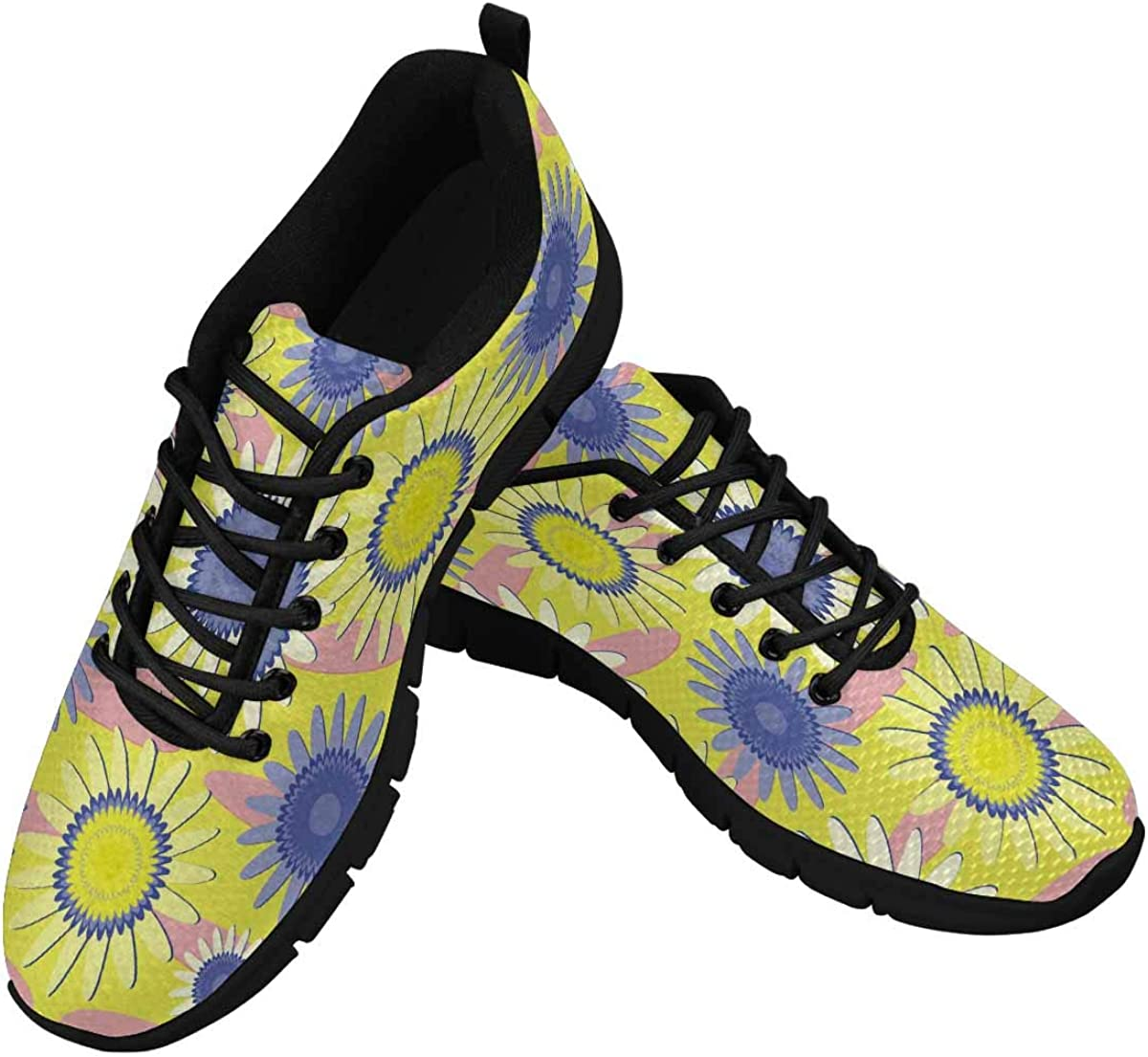 InterestPrint Yellow and Blue Flowers Women's Athletic Walking Shoes Breathe Comfort Mesh