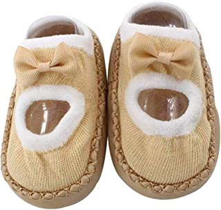 1 Pair Newborn Indoor Shoes Infant First Walk Tollder Shoes Baby Prewalker Floor Socks Anti Slip Soft Sole Sock
