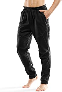 LAMEDA Men's Windproof Sports Pants,Warm Fleece Thermal Breathable for Cycling Running Hiking and Multi Sports Pants Black