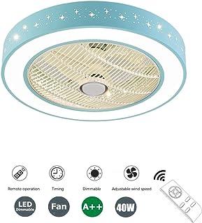 SFOXI Ventilador de Techo con Lámpara, 3 Velocidades 3 Colores Regulables Ventilador de Techo con Luces LED con Mando a Distanci Lámpara de Techo para Sala de Estar del Dormitorio (Ø50cm, 40W)