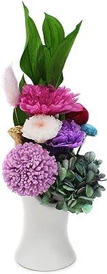 【紫苑-SHION-】 プリザーブドフラワー 仏花 お供え お盆 彼岸 ギフト 専用 クリアケース 入り 省スペースで飾る新しい プリザ仏花 モダン仏壇 現代仏壇