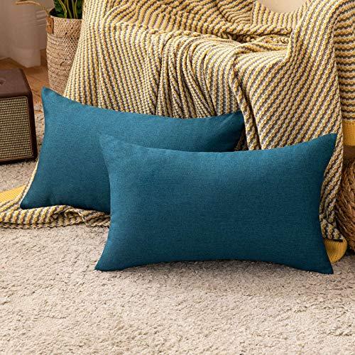 MIULEE 2er Set Kissenbezug aus Baumwolle Leinen-Optik Dekorative Sofakissen Dekokissen Moderne Kissenhülle für Outdoor Sofa Wohnzimmer Schlafzimmer Bett 30x50 cm Navy Blau