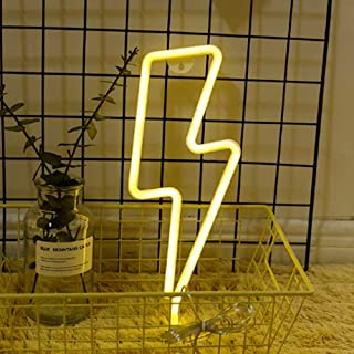 Neon Night Light Lightning Bolt Battery and USB Powered Wall Art LED Decorative Lights for Living Room Party Decoration