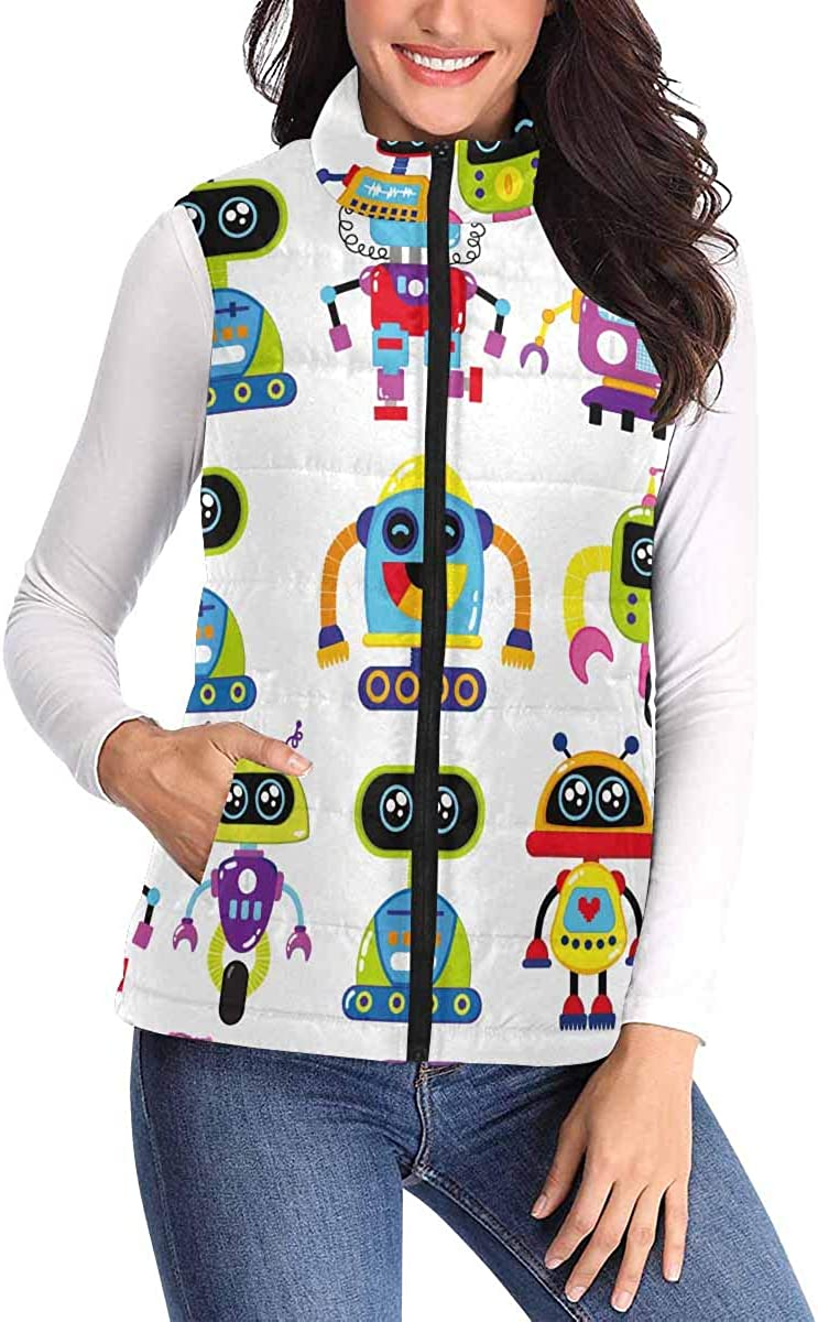 InterestPrint Women's Padded Vest Lightweight Zip Quilted Gilet Outdoor Cute Creative Robot