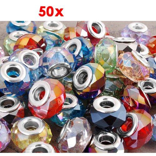 Gleader 50 X Abalorio Cuenta Cristal Vidrio Facetada 14x9mm Multicolor