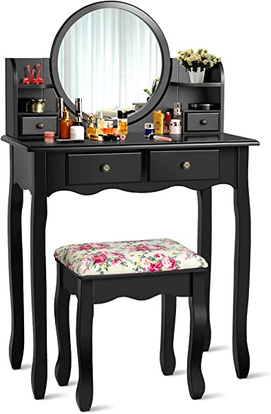 CHARMAID Vanity Set With 4 Storage Shelves And 4 Drawers Makeup Table With 360 Pivoted Round Mirror And Makeup Organizers Dressing Table With Mirror And Cushioned Stool For Women Girls Black