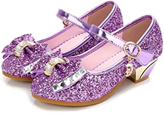Baby Girls Princess Shoes Bow Adorable Sparkle Low Heel Dance Shoes 777f22216ee5