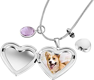 Eternally Loved Forever in My Heart Pet Locket Pendant Memorial Cremation Keepsake Necklace,Stainless Steel Dog Pictures Photo Locket